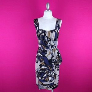 @ Trina Turk sz 4 Silk Sheath Dress Grey Cream